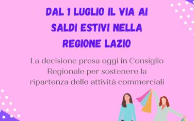 Saldi già dal 1° luglio nella Regione Lazio